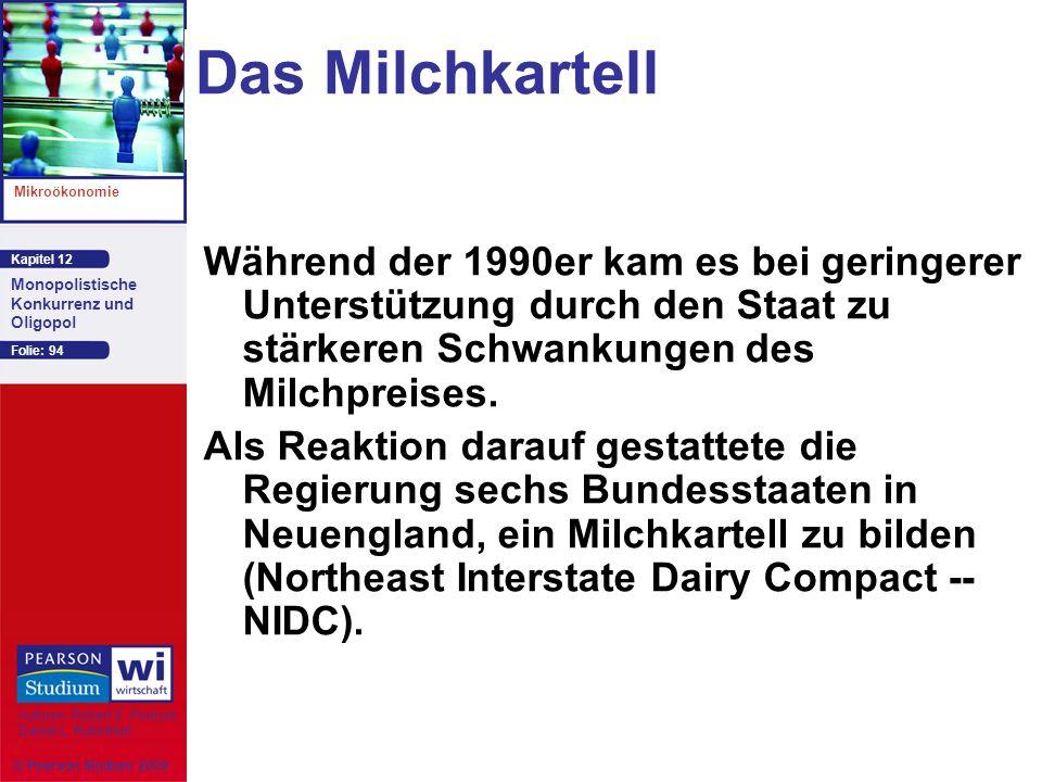 Kapitel 12 Mikroökonomie Autoren: Robert S. Pindyck Daniel L. Rubinfeld Monopolistische Konkurrenz und Oligopol © Pearson Studium 2009 Folie: 94 Das M