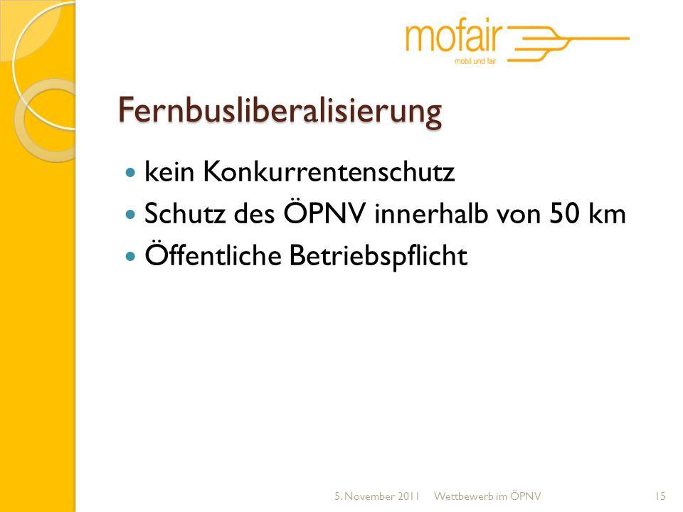 Fernbusliberalisierung kein Konkurrentenschutz Schutz des ÖPNV innerhalb von 50 km Öffentliche Betriebspflicht 5. November 2011Wettbewerb im ÖPNV15