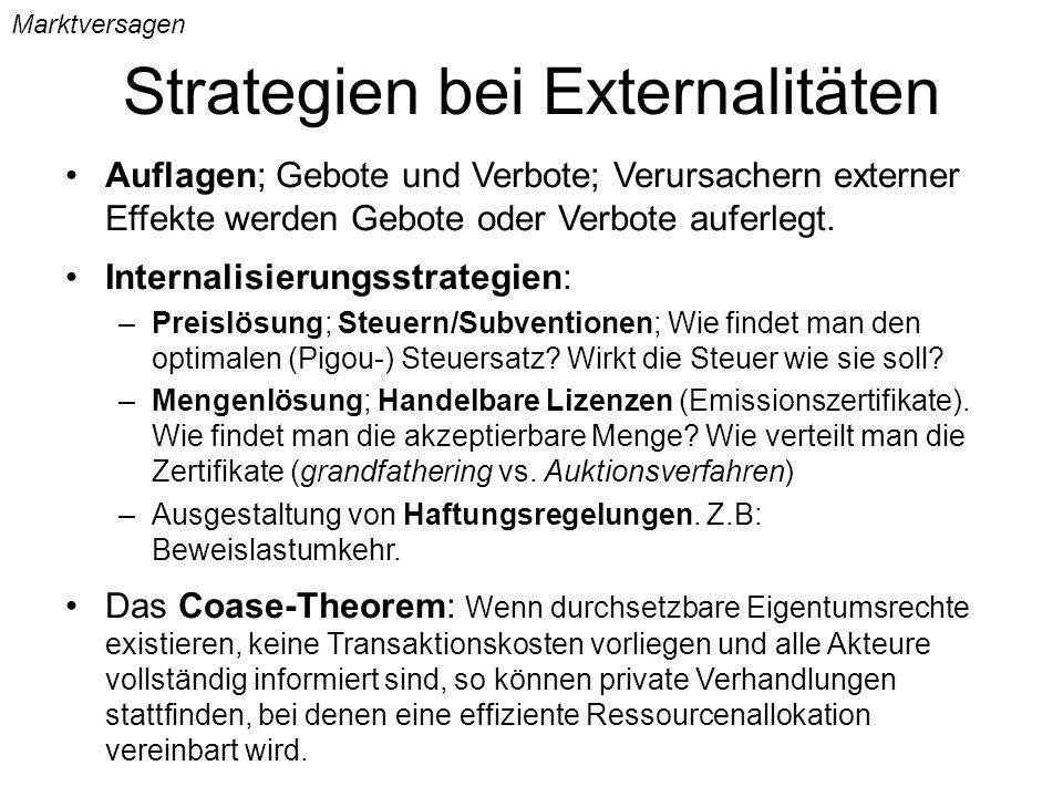 Strategien bei Externalitäten Marktversagen Auflagen; Gebote und Verbote; Verursachern externer Effekte werden Gebote oder Verbote auferlegt. Internal