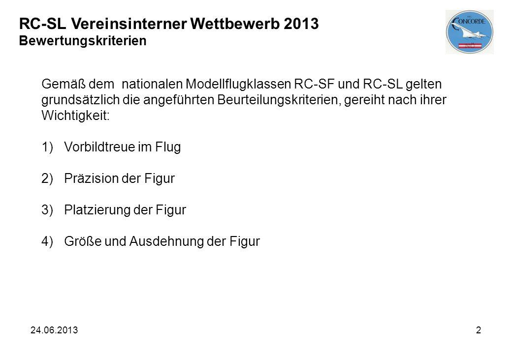 24.06.20132 Gemäß dem nationalen Modellflugklassen RC-SF und RC-SL gelten grundsätzlich die angeführten Beurteilungskriterien, gereiht nach ihrer Wich