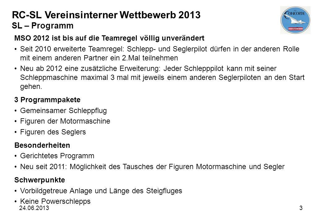 24.06.20133 RC-SL Vereinsinterner Wettbewerb 2013 SL – Programm MSO 2012 ist bis auf die Teamregel völlig unverändert Seit 2010 erweiterte Teamregel: