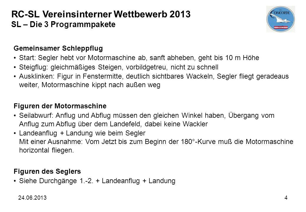 24.06.20134 RC-SL Vereinsinterner Wettbewerb 2013 SL – Die 3 Programmpakete Gemeinsamer Schleppflug Start: Segler hebt vor Motormaschine ab, sanft abh