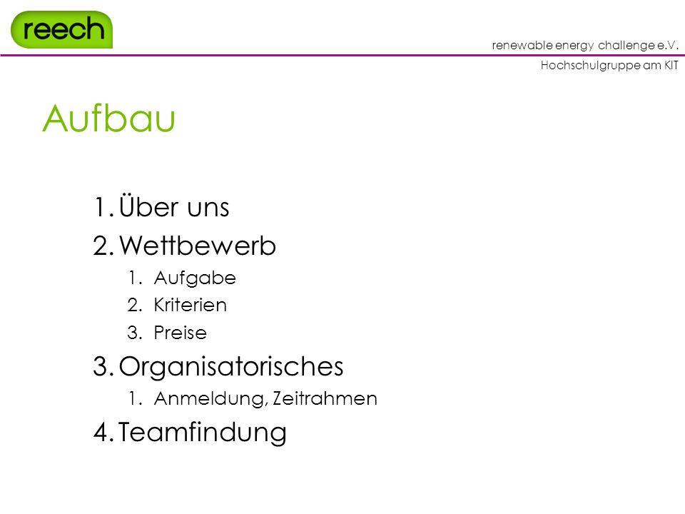 renewable energy challenge e.V. Hochschulgruppe am KIT Aufbau 1.Über uns 2.Wettbewerb 1.