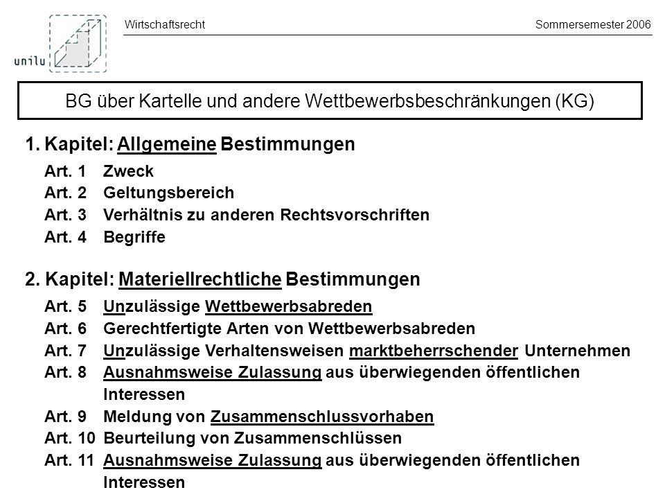 WirtschaftsrechtSommersemester 2006 3.Kapitel: Zivilrechtliches Verfahren Art.