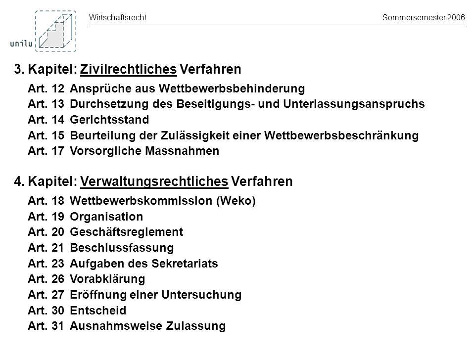 WirtschaftsrechtSommersemester 2006 4.Kapitel: Verwaltungsrechtliches Verfahren Prüfung von Unternehmenszusammenschlüssen Art.