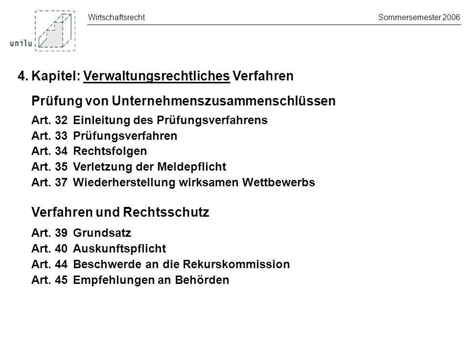 WirtschaftsrechtSommersemester 2006 4.Kapitel: Verwaltungsrechtliches Verfahren Verwaltungssanktionen Art.