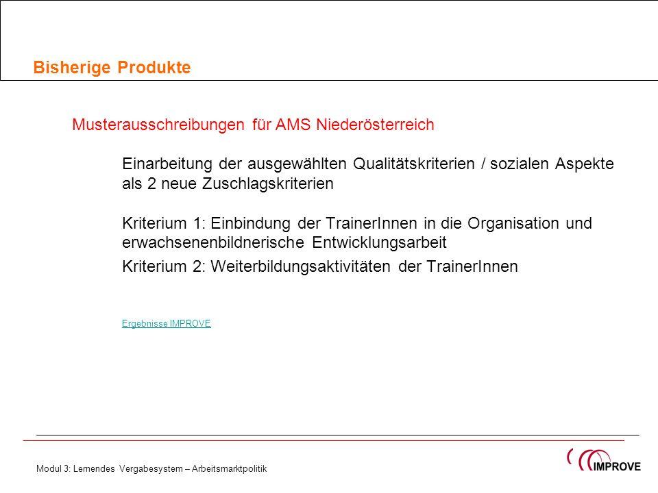Bisherige Produkte Musterausschreibungen für AMS Niederösterreich Einarbeitung der ausgewählten Qualitätskriterien / sozialen Aspekte als 2 neue Zusch
