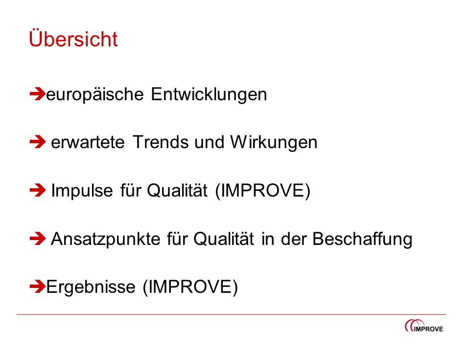 Übersicht europäische Entwicklungen erwartete Trends und Wirkungen Impulse für Qualität (IMPROVE) Ansatzpunkte für Qualität in der Beschaffung Ergebni