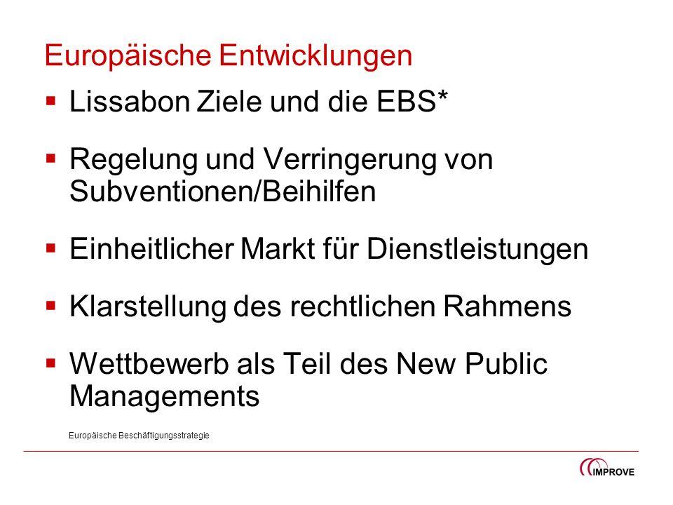 Europäische Entwicklungen Lissabon Ziele und die EBS* Regelung und Verringerung von Subventionen/Beihilfen Einheitlicher Markt für Dienstleistungen Kl