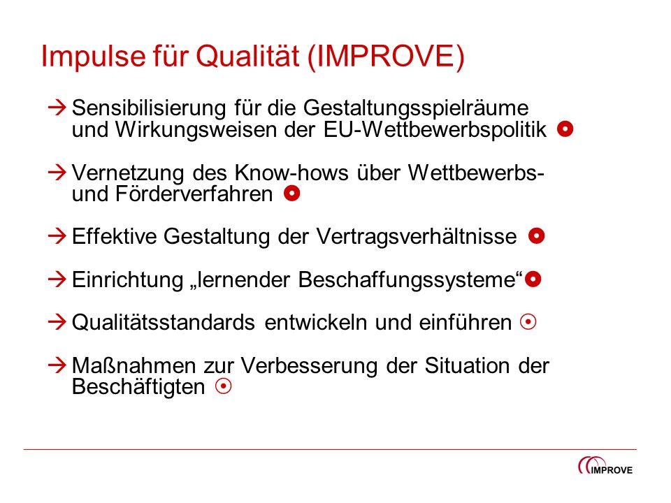 Impulse für Qualität (IMPROVE) Sensibilisierung für die Gestaltungsspielräume und Wirkungsweisen der EU-Wettbewerbspolitik Vernetzung des Know-hows üb