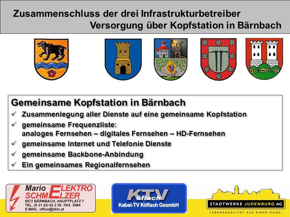 Zusammenschluss der drei Infrastrukturbetreiber Versorgung über Kopfstation in Bärnbach Gemeinsame Kopfstation in Bärnbach Zusammenlegung aller Dienst