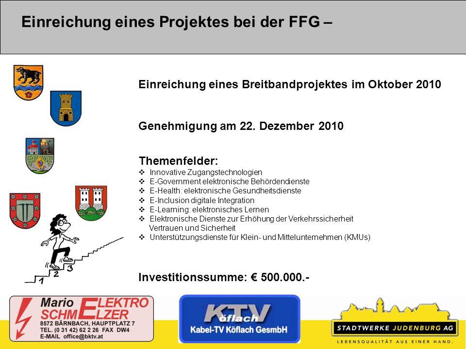 Einreichung eines Projektes bei der FFG – Einreichung eines Breitbandprojektes im Oktober 2010 Genehmigung am 22. Dezember 2010 Themenfelder: Innovati