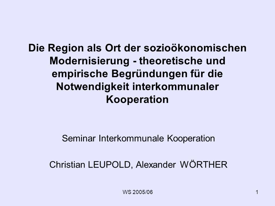 WS 2005/062 Übersicht Einleitung Wirtschaftliche Aspekte der Globalisierung Glocalization -Industrial Districts, Regionale Cluster -Raum-Zeit-Konvergenz -Wettbewerb der Regionen Lebensweltliche Aspekte der Regionalisierung Ausweitung des individuellen Aktionsraumes