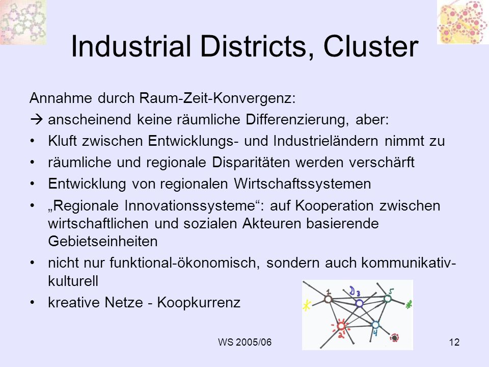 WS 2005/0612 Industrial Districts, Cluster Annahme durch Raum-Zeit-Konvergenz: anscheinend keine räumliche Differenzierung, aber: Kluft zwischen Entwi