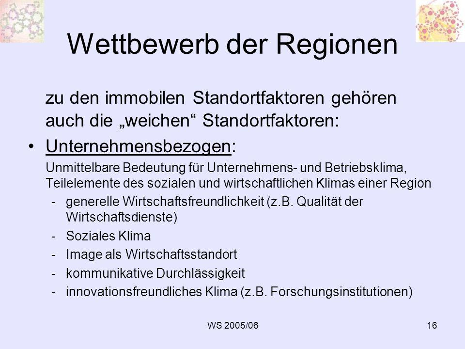 WS 2005/0616 Wettbewerb der Regionen zu den immobilen Standortfaktoren gehören auch die weichen Standortfaktoren: Unternehmensbezogen: Unmittelbare Be