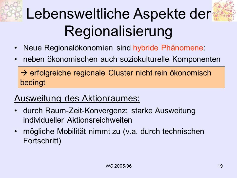 WS 2005/0619 Lebensweltliche Aspekte der Regionalisierung Neue Regionalökonomien sind hybride Phänomene: neben ökonomischen auch soziokulturelle Kompo