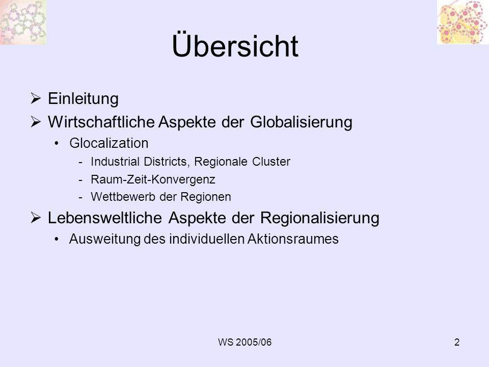 WS 2005/0623 Regionalisierungsimpulse durch EU-Regionalpolitik Spannungsverhältnis Internationalisierung – institutionelle Veränderungen im Nationalstaat Regionen als starke dritte Ebene Europa der Regionen: Gegenentwurf zum europäischen Zentralstaat Dezentralisierung Regionalisierung als Strategie der Strukturpolitik und Raumentwicklung seitens der EU EU-Regionsbildung vs.