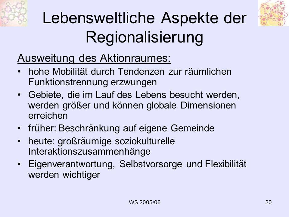 WS 2005/0620 Lebensweltliche Aspekte der Regionalisierung Ausweitung des Aktionraumes: hohe Mobilität durch Tendenzen zur räumlichen Funktionstrennung