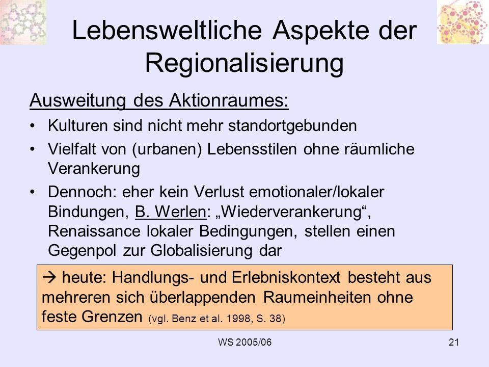 WS 2005/0621 Lebensweltliche Aspekte der Regionalisierung Ausweitung des Aktionraumes: Kulturen sind nicht mehr standortgebunden Vielfalt von (urbanen