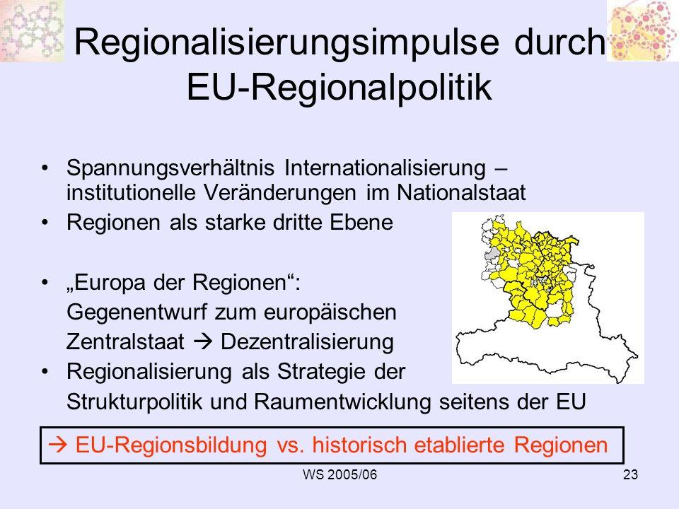 WS 2005/0623 Regionalisierungsimpulse durch EU-Regionalpolitik Spannungsverhältnis Internationalisierung – institutionelle Veränderungen im Nationalst