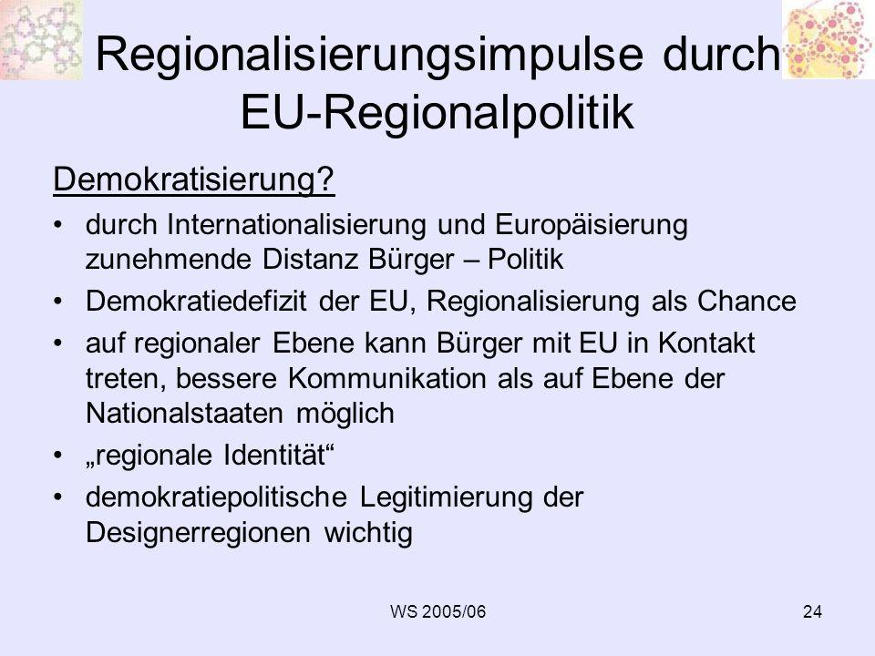 WS 2005/0624 Regionalisierungsimpulse durch EU-Regionalpolitik Demokratisierung? durch Internationalisierung und Europäisierung zunehmende Distanz Bür