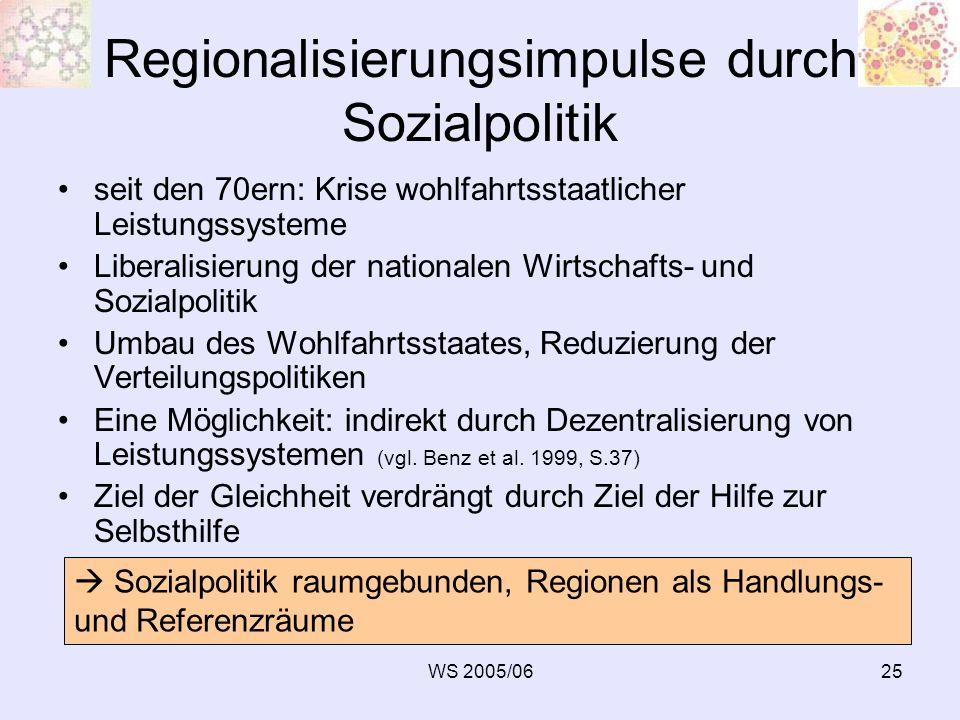 WS 2005/0625 Regionalisierungsimpulse durch Sozialpolitik seit den 70ern: Krise wohlfahrtsstaatlicher Leistungssysteme Liberalisierung der nationalen