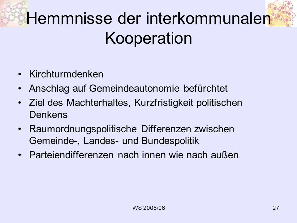 WS 2005/0627 Hemmnisse der interkommunalen Kooperation Kirchturmdenken Anschlag auf Gemeindeautonomie befürchtet Ziel des Machterhaltes, Kurzfristigke