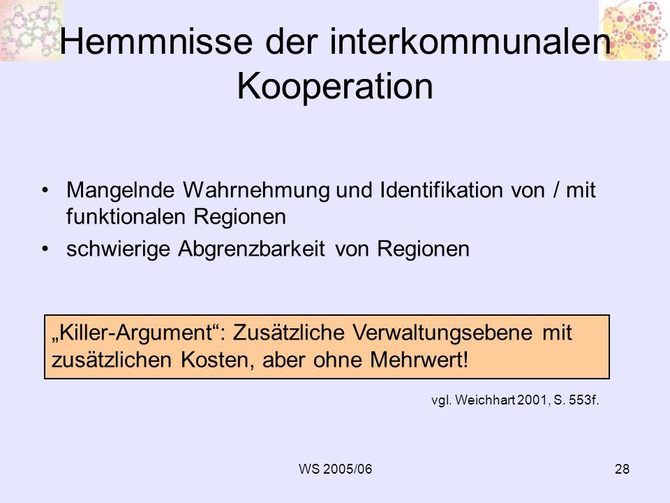 WS 2005/0628 Hemmnisse der interkommunalen Kooperation Mangelnde Wahrnehmung und Identifikation von / mit funktionalen Regionen schwierige Abgrenzbark