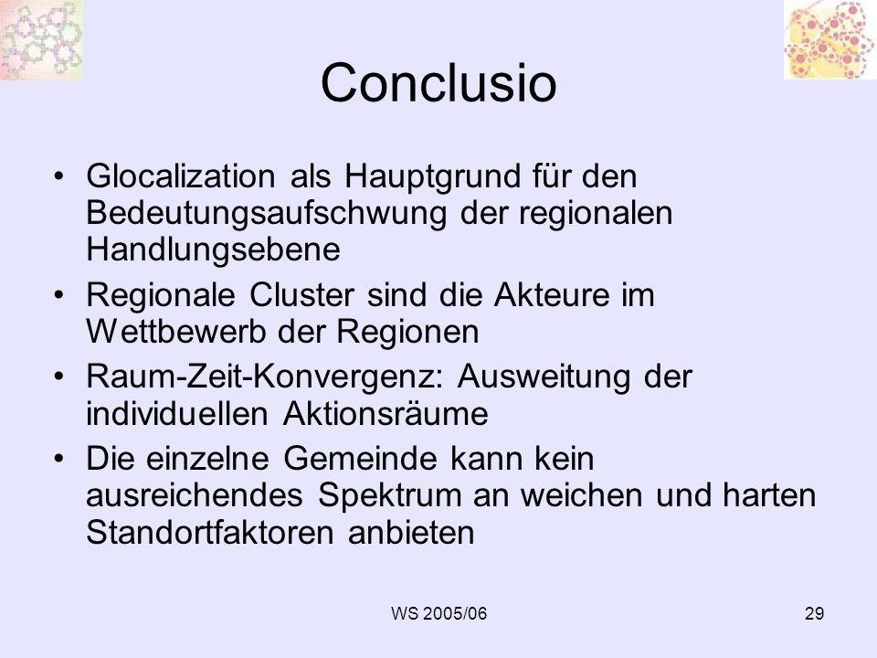 WS 2005/0629 Conclusio Glocalization als Hauptgrund für den Bedeutungsaufschwung der regionalen Handlungsebene Regionale Cluster sind die Akteure im W