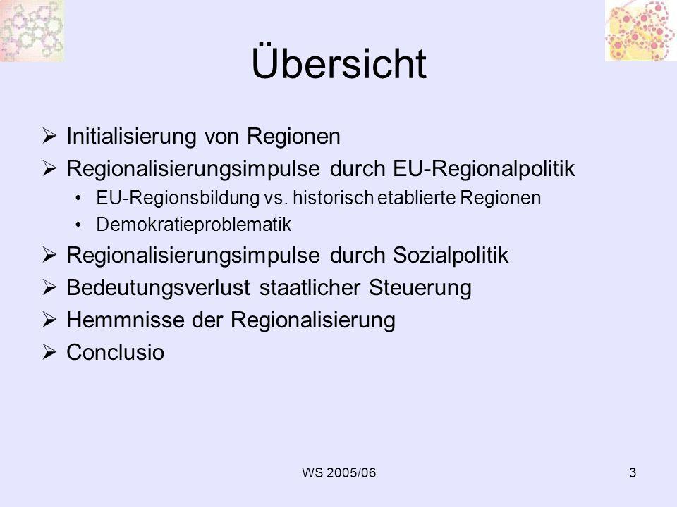 WS 2005/064 Einleitung Regionalisierung: vielschichtiger Begriff, grundsätzlich zwei Bedeutungen: 1.Regionalisierung = Forschungsprozess, das Abgrenzen von Regionen 2.Regionalisierung = Bedeutungszunahme der regionalen Handlungsebene