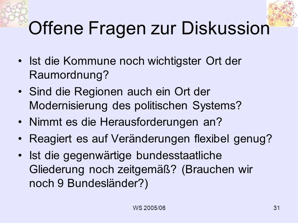 WS 2005/0631 Offene Fragen zur Diskussion Ist die Kommune noch wichtigster Ort der Raumordnung? Sind die Regionen auch ein Ort der Modernisierung des