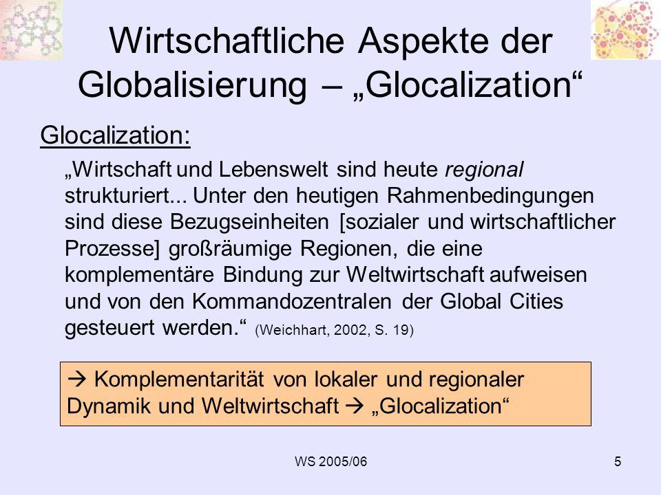 WS 2005/0616 Wettbewerb der Regionen zu den immobilen Standortfaktoren gehören auch die weichen Standortfaktoren: Unternehmensbezogen: Unmittelbare Bedeutung für Unternehmens- und Betriebsklima, Teilelemente des sozialen und wirtschaftlichen Klimas einer Region -generelle Wirtschaftsfreundlichkeit (z.B.