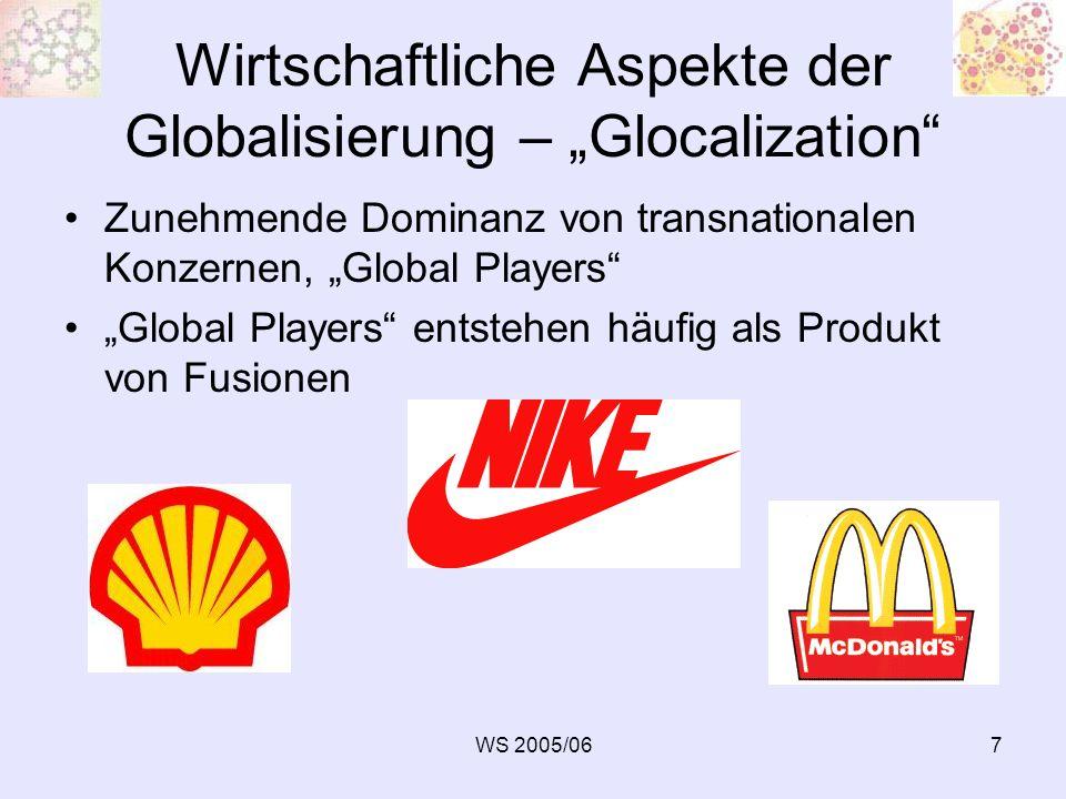 WS 2005/068 Wirtschaftliche Aspekte der Globalisierung – Glocalization Flexibilisierung von Produktion und Beschäftigungsverhältnissen Verfall der Massenproduktion Spirale der Kostensenkung, Turbo- Kapitalismus Nicht nur ein Absatzmarkt, sondern auch nur ein Beschaffungsmarkt, Global Sourcing