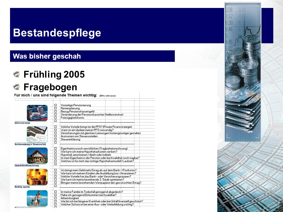 Bestandespflege Frühling 2005 Fragebogen Was bisher geschah