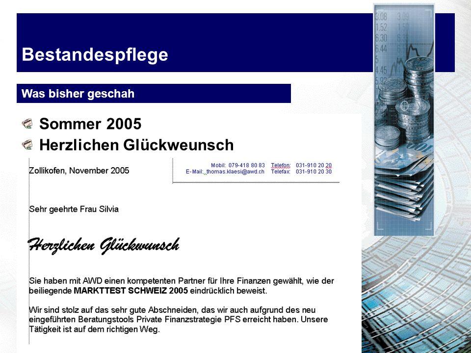 Bestandespflege Was bisher geschah Sommer 2005 Herzlichen Glückweunsch