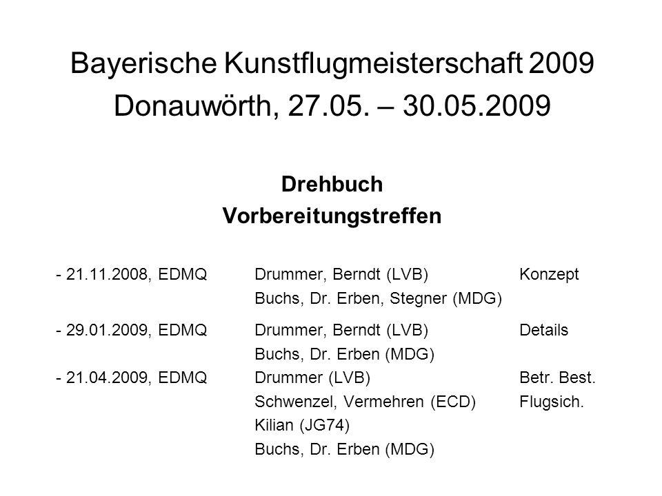 Bayerische Kunstflugmeisterschaft 2009 Donauwörth, 27.05. – 30.05.2009 Drehbuch Vorbereitungstreffen - 21.11.2008, EDMQDrummer, Berndt (LVB)Konzept Bu