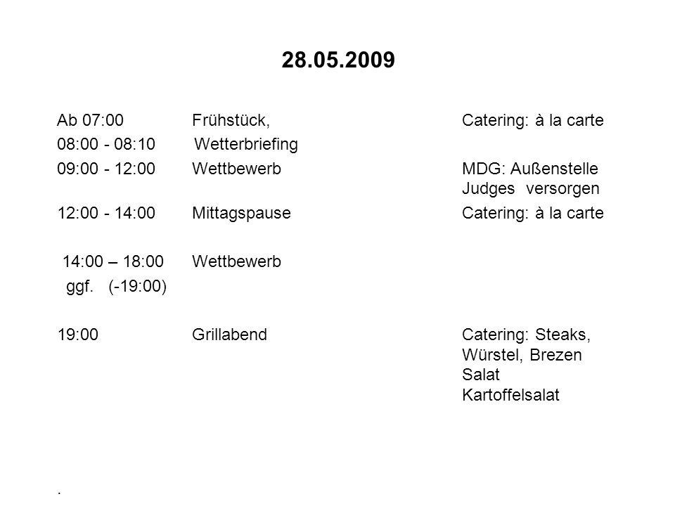 29.05.2009 Ab 07:00FrühstückCatering: à la carte 08:00 - 08:10 Wetterbriefing 09:00 - 12:00WettbewerbMDG: Außenstelle Judges versorgen 12:00 - 14:00MittagspauseCatering: à la carte 14:00 – 18:00Wettbewerb ggf.
