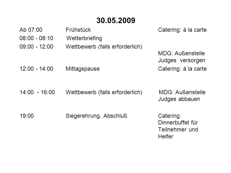 30.05.2009 Ab 07:00FrühstückCatering: à la carte 08:00 - 08:10 Wetterbriefing 09:00 - 12:00Wettbewerb (falls erforderlich) MDG: Außenstelle Judges ver