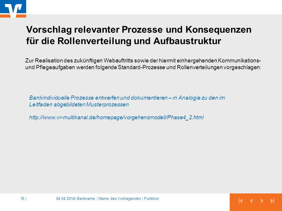 04.04.2014|16 | Zur Realisation des zukünftigen Webauftritts sowie der hiermit einhergehenden Kommunikations- und Pflegeaufgaben werden folgende Standard-Prozesse und Rollenverteilungen vorgeschlagen: Bankindividuelle Prozesse entwerfen und dokumentieren – in Analogie zu den im Leitfaden abgebildeten Musterprozessen http://www.vr-multikanal.de/homepage/vorgehensmodell/Phase4_2.html Vorschlag relevanter Prozesse und Konsequenzen für die Rollenverteilung und Aufbaustruktur Bankname | Name des Vortragenden | Funktion