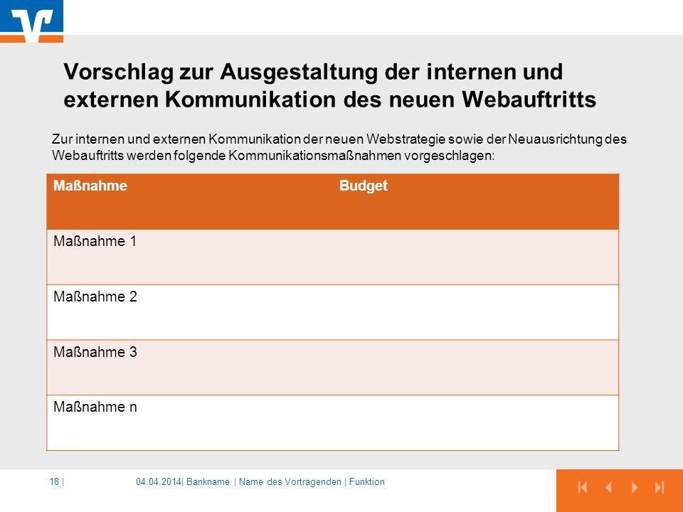 04.04.2014|18 | Zur internen und externen Kommunikation der neuen Webstrategie sowie der Neuausrichtung des Webauftritts werden folgende Kommunikation