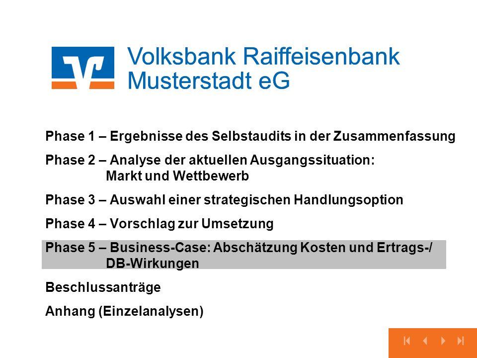Volksbank Raiffeisenbank Musterstadt eG Phase 1 – Ergebnisse des Selbstaudits in der Zusammenfassung Phase 2 – Analyse der aktuellen Ausgangssituation