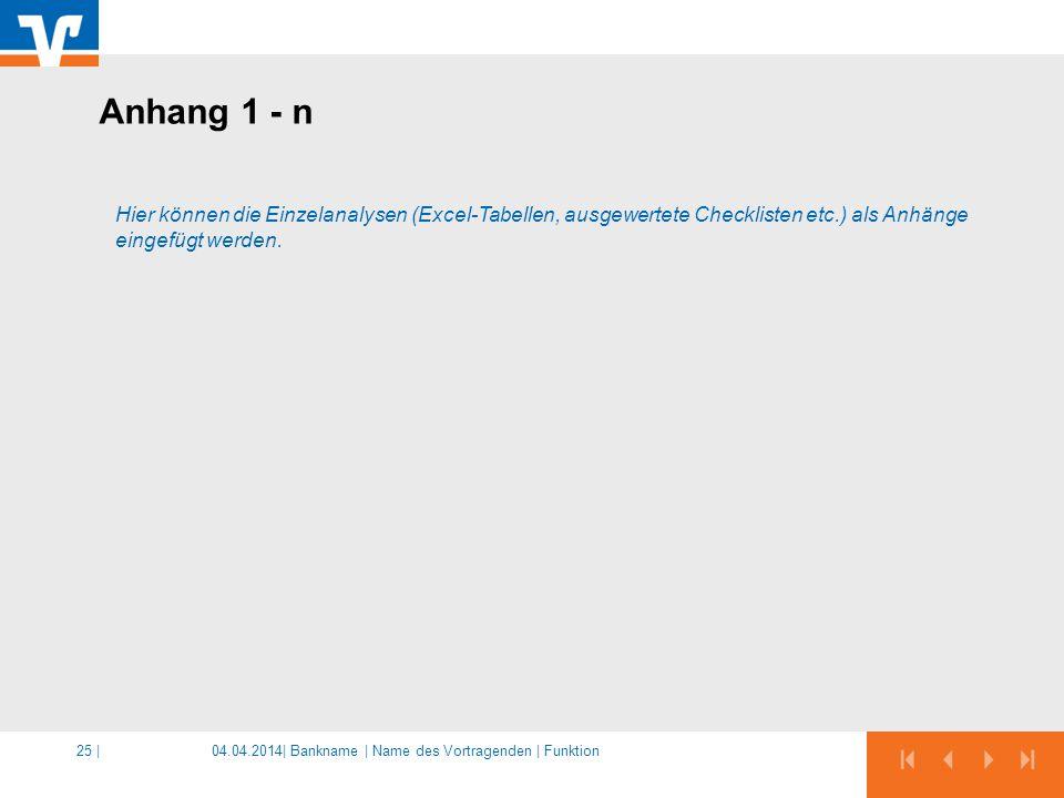 04.04.2014|25 | Hier können die Einzelanalysen (Excel-Tabellen, ausgewertete Checklisten etc.) als Anhänge eingefügt werden. Anhang 1 - n Bankname | N