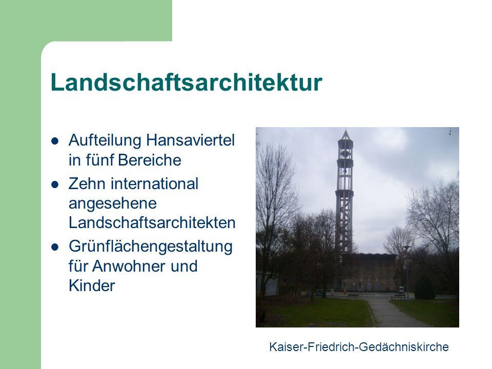 Landschaftsarchitektur Aufteilung Hansaviertel in fünf Bereiche Zehn international angesehene Landschaftsarchitekten Grünflächengestaltung für Anwohne