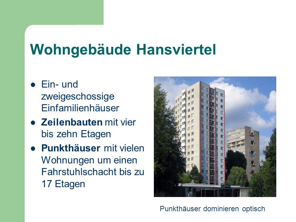 Wohngebäude Hansviertel Ein- und zweigeschossige Einfamilienhäuser Zeilenbauten mit vier bis zehn Etagen Punkthäuser mit vielen Wohnungen um einen Fah