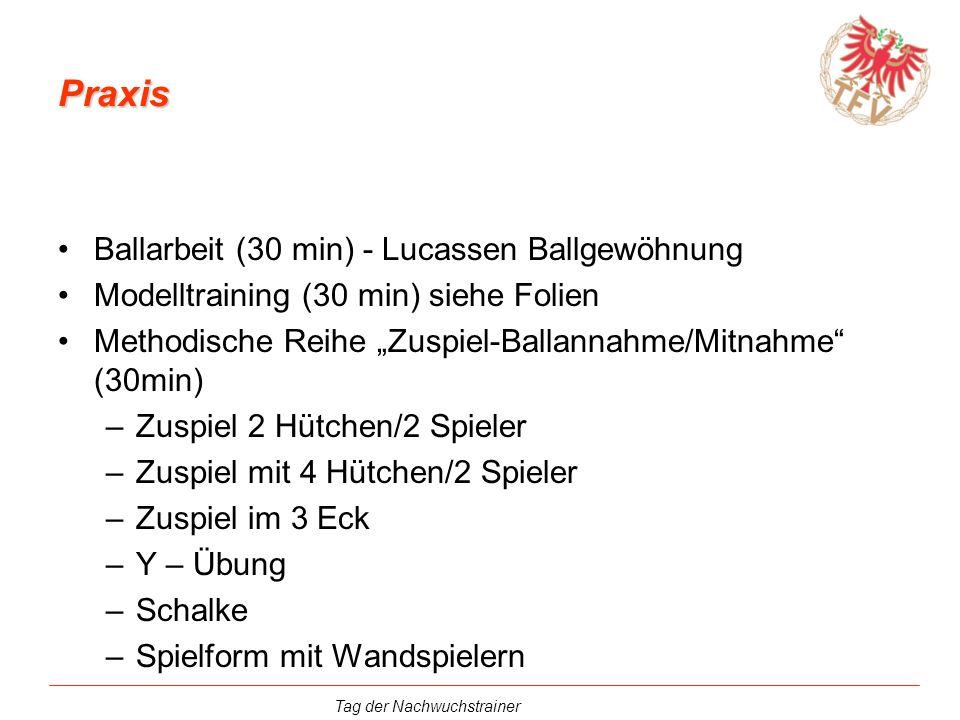 Tag der Nachwuchstrainer Praxis Ballarbeit (30 min) - Lucassen Ballgewöhnung Modelltraining (30 min) siehe Folien Methodische Reihe Zuspiel-Ballannahm