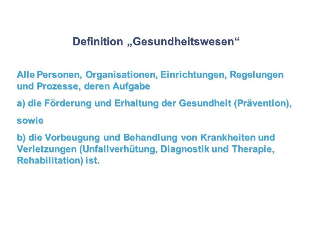Definition Gesundheitswesen Alle Personen, Organisationen, Einrichtungen, Regelungen und Prozesse, deren Aufgabe a) die Förderung und Erhaltung der Ge