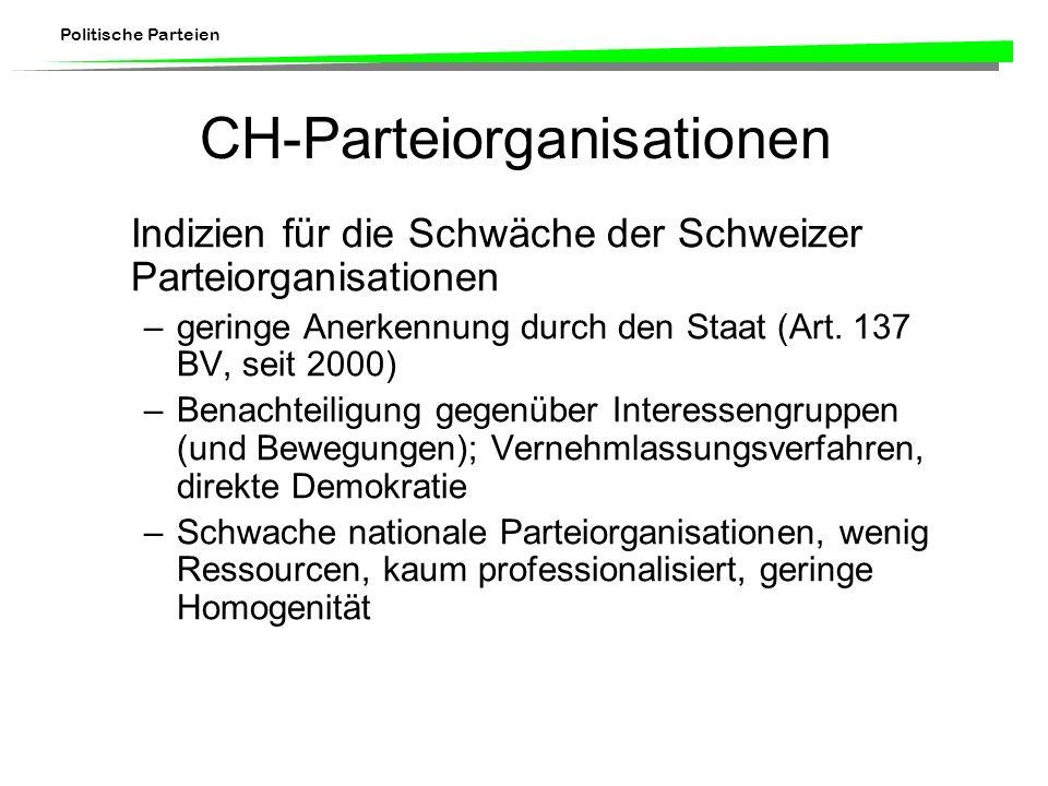 Politische Parteien CH-Parteiorganisationen Indizien für die Schwäche der Schweizer Parteiorganisationen –geringe Anerkennung durch den Staat (Art. 13