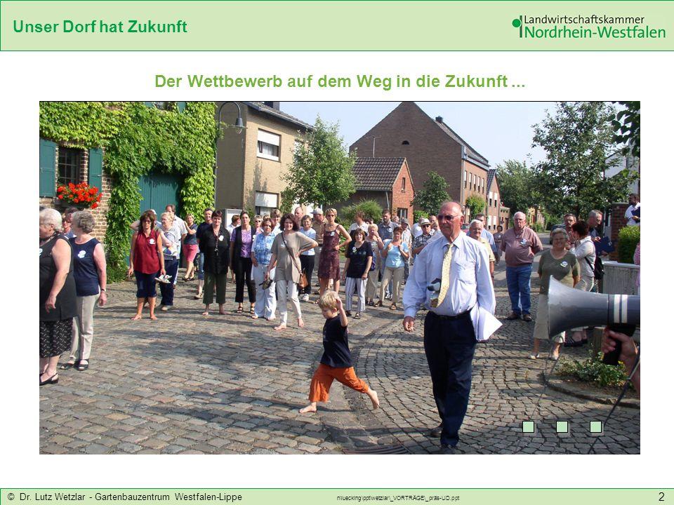 Unser Dorf hat Zukunft © Dr. Lutz Wetzlar - Gartenbauzentrum Westfalen-Lippe n\luecking\ppt\wetzlar\_VORTRÄGE\_präs-UD.ppt 2 Der Wettbewerb auf dem We