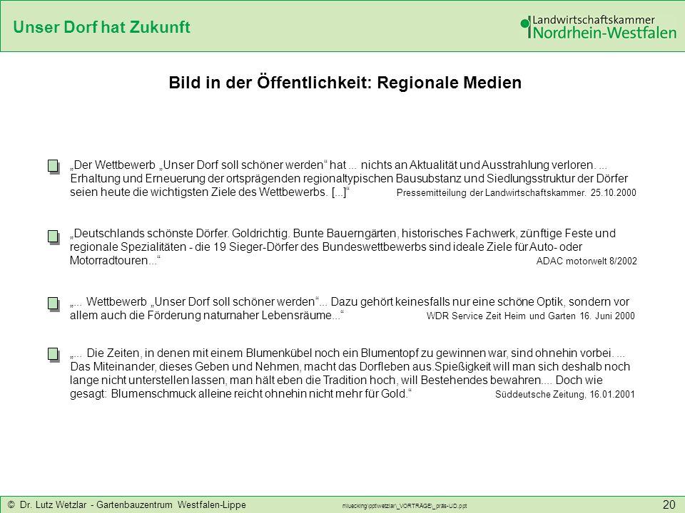Unser Dorf hat Zukunft © Dr. Lutz Wetzlar - Gartenbauzentrum Westfalen-Lippe n\luecking\ppt\wetzlar\_VORTRÄGE\_präs-UD.ppt 20 Bild in der Öffentlichke