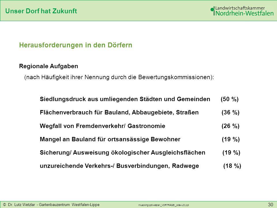 Unser Dorf hat Zukunft © Dr. Lutz Wetzlar - Gartenbauzentrum Westfalen-Lippe n\luecking\ppt\wetzlar\_VORTRÄGE\_präs-UD.ppt 30 Herausforderungen in den